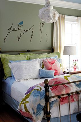 Green bedroom designed by Diane von Furstenburg's team