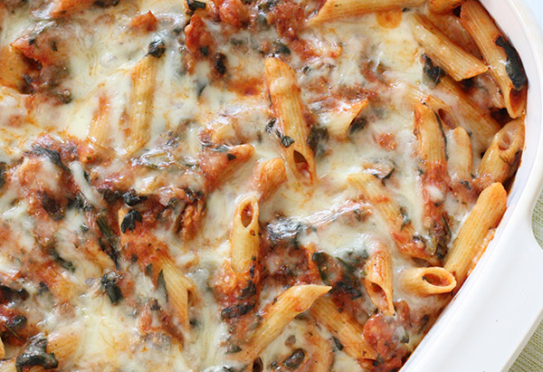 Healthy comfort food dinner recipes baked pasta with sausage and spinach forumfinder Gallery