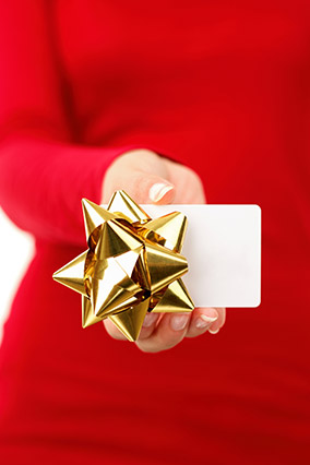 Gift card with gold bow