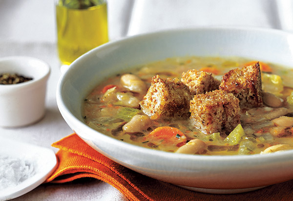 White Bean and Rosemary Soup with Roasted Garlic Croutons
