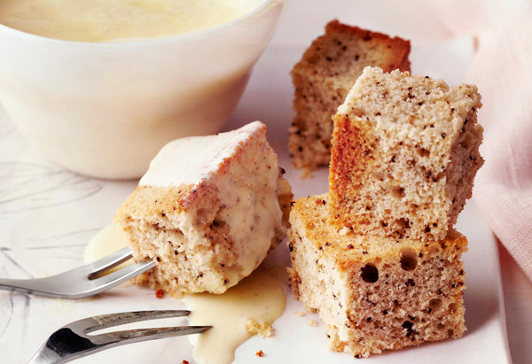 French Vanilla Coffee Cake with Creme Anglaise