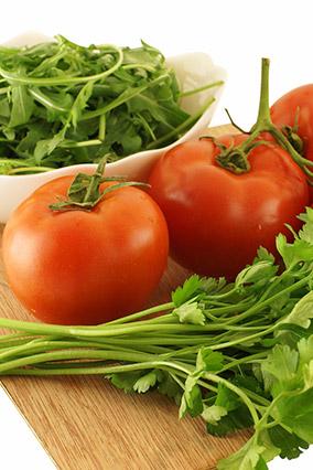 Arugula, vine tomatoes and parsley