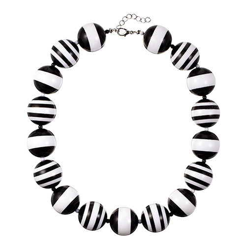Black-and-white-striped beaded necklace by R.J. Graziano