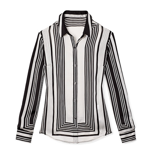 Graphic stripe black and white buttondown shirt by NY and Company