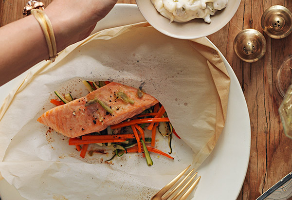 salmon in parchment with olive butter