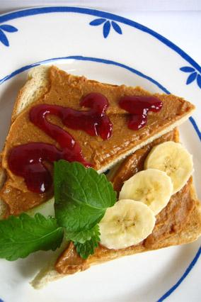 Peanut butter, jelly and banana sandwich