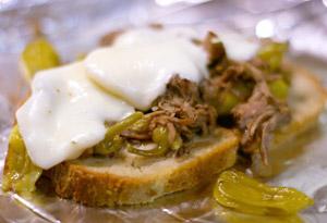 Slow Cooker Peperoncini Beef Sandwiches