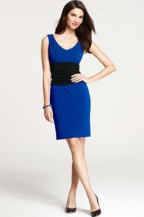 Ann Taylor Colorblocked Ruche Waist Dress