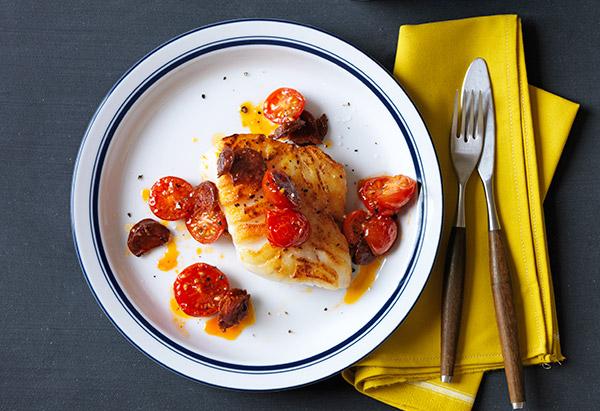 cod with chorizo and tomatoes