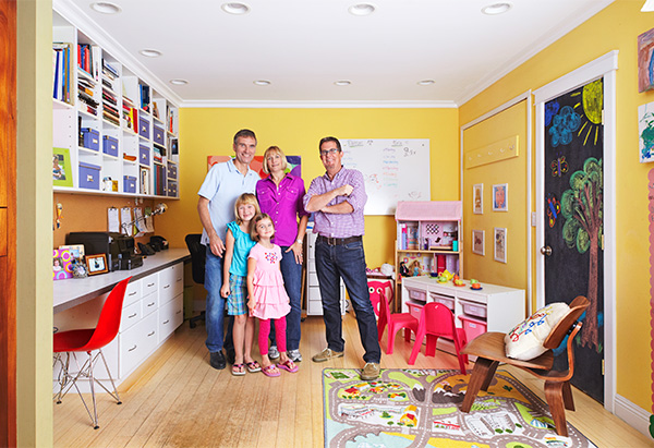 Family in clean room