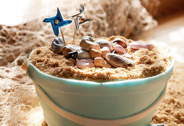 Sandy beach bucket cake