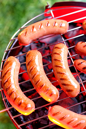 Sausage on a barbeque