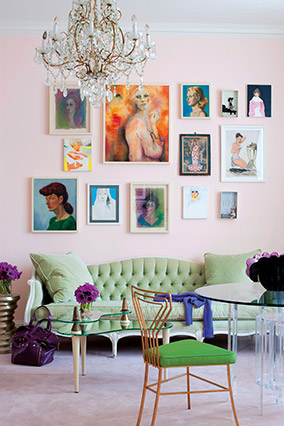 pink wall with paintings