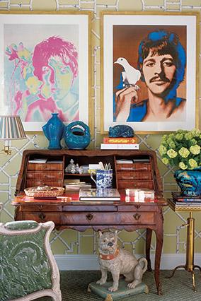 roll top desk with John Lennon pics