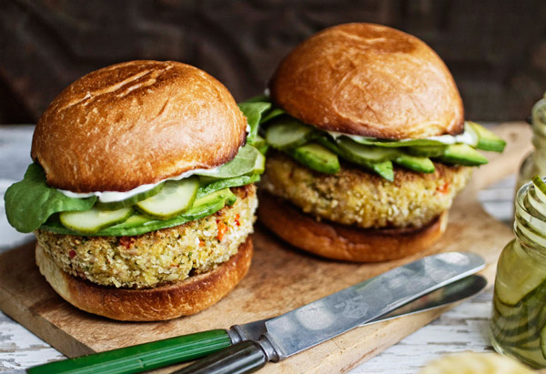 Tuna Burgers with Wasabi Mayo and Quick Cucumber Pickle