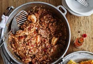 Jambalaya with Chicken, Shrimp, and Andouille Sausage