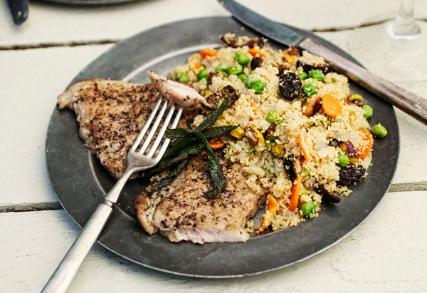 Crispy Sage Pork Cutlets with Couscous, Peas, Figs and Pistachios