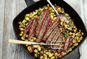 Flank Steak with Chimichurri and Summer Squash Hash