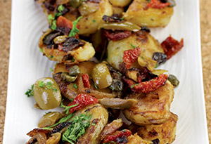 Lyonnaise Potatoes with Green Olives and Sun-Dried Tomatoes
