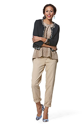 Casual and dressy outfit with khakis