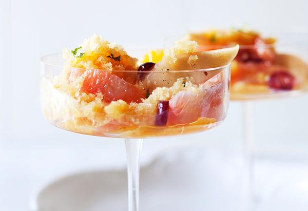 Orange Granita with Honey-Poached Pears, Cranberries and Citrus