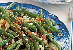 String Beans with Fried Shallots, Pecorino & Basil