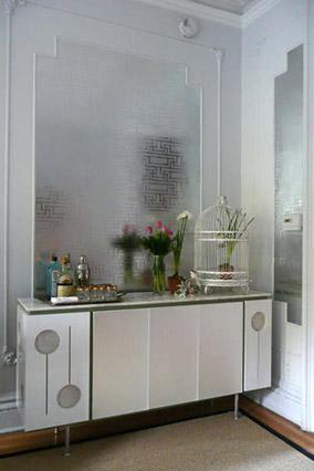 Wallpapered closet