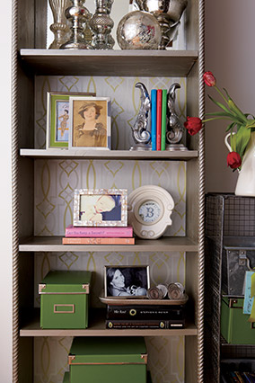 Wallpapered bookcase