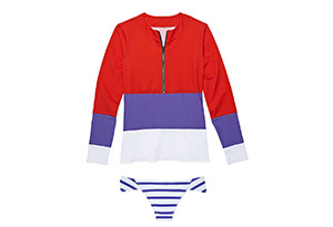 Color Block Zip Swim Shirt