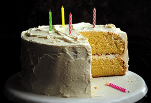 Golden Vanilla Birthday Cake