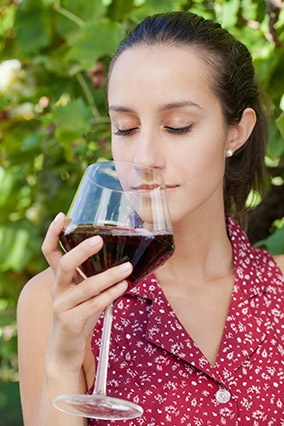 Sniffing wine