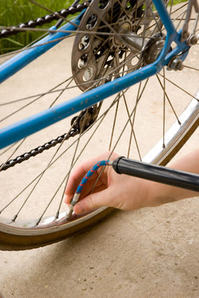 Inflating a bike tire