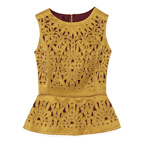 Gold cutout top