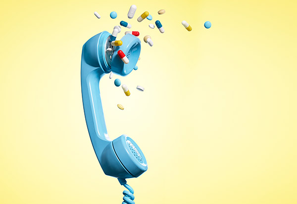 Pills coming out of a phone