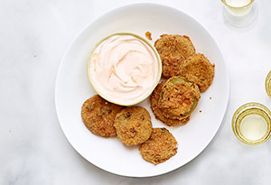 Fried Green Tomatillos with Spicy Cream Sauce