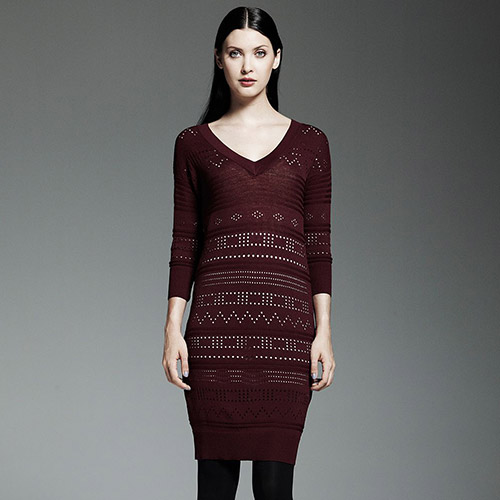 Multipatterned Sweaterdress Set