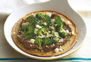 Chickpea Pancake with Broccoli and Eggplant Puree