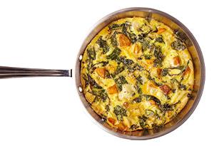 Fontina, Squash and Kale Frittata