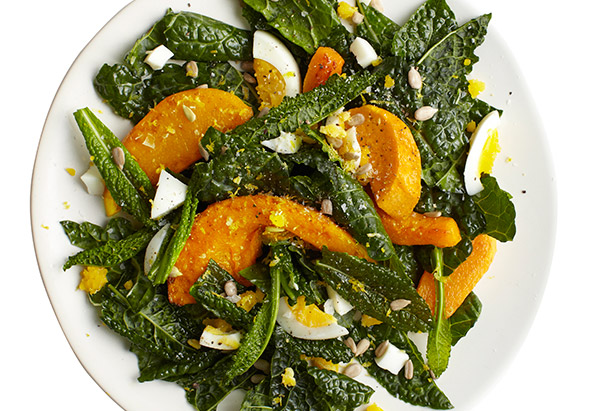 Lemony Raw Kale Salad with Egg
