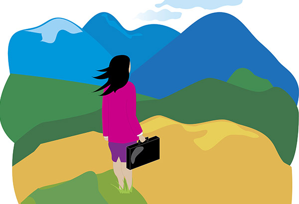 woman mountains