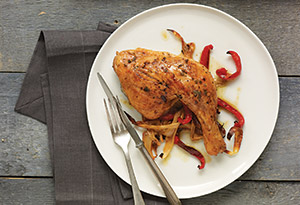 Devil's Chicken with Sweet Peppers and Onions (Roast Chicken Diavolo)