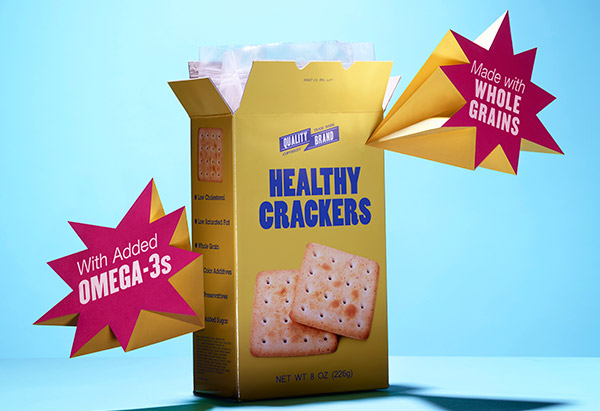 Cracker box with nutrition labels
