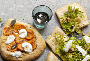Robiola, Shaved Brussels Sprouts and Walnut Pizza