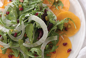 Persimmon, Pomegranate and Pistachio Salad