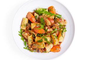 Chicken, Arugula, Thyme and Pasta Stew