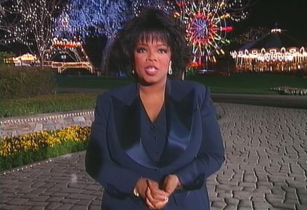 Oprah outside Michael Jackson's Neverland Ranch