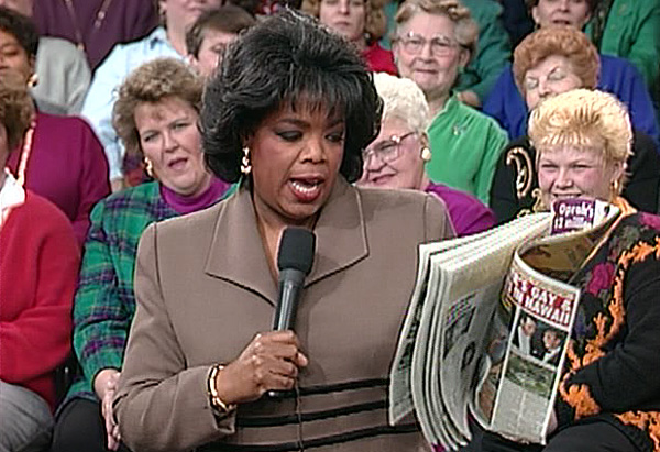 Oprah reads a tabloid story about herself