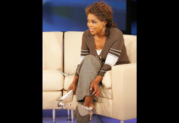 Oprah's silver mules