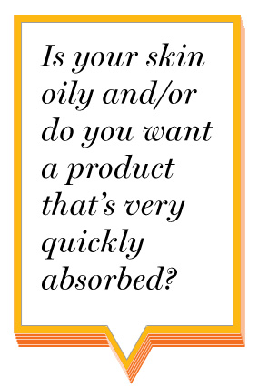 Is your skin oily and/or do you want a product that's very quickly absorbed?