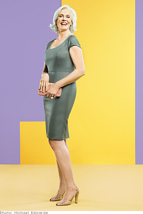 Suzanne in a lightweight wool sheath